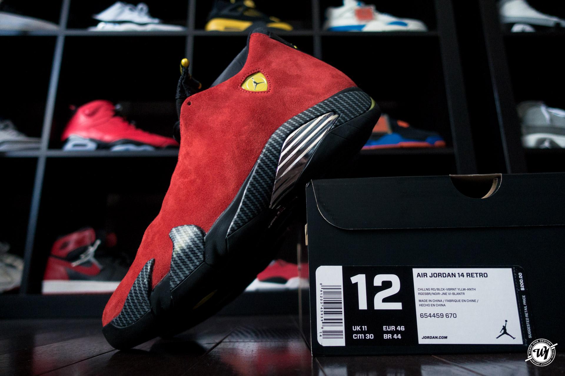 """dd86f5ac4 Air Jordan 14 Retro """"Ferrari""""   Ward 1 Design"""